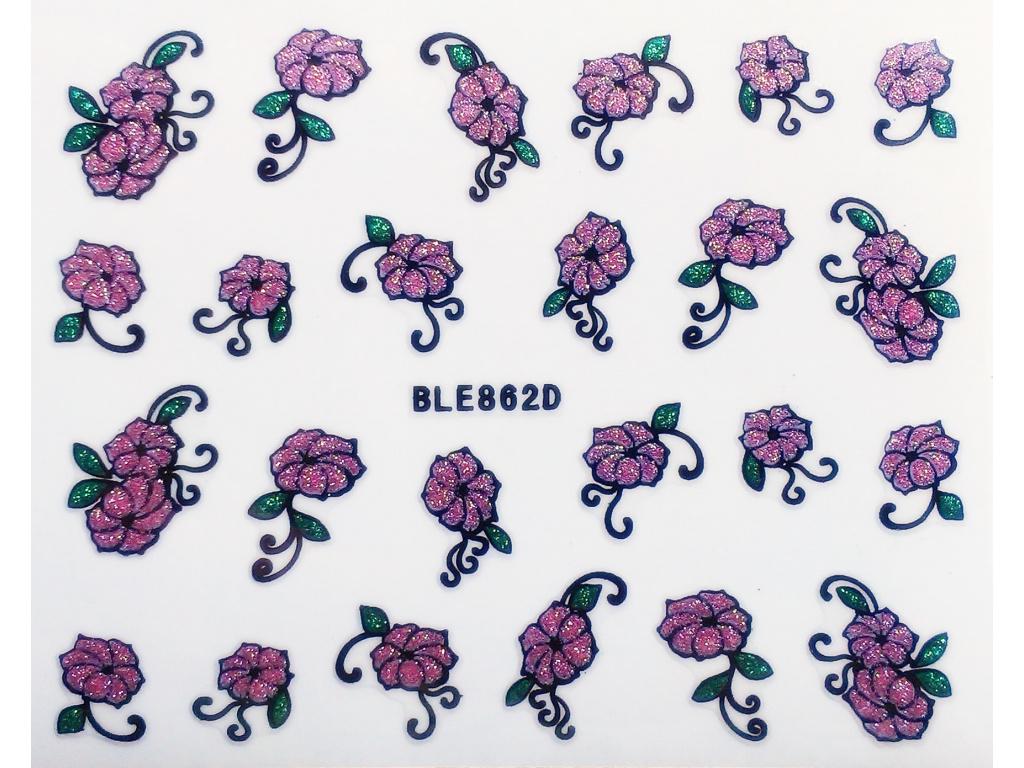 Nálepky na nechty trblietavé kvety
