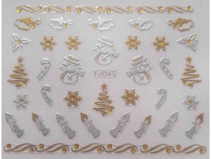 Vianočné nálepky na nechty, 3D zlato-strieborné