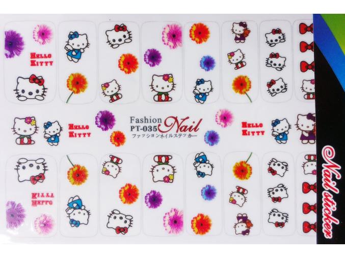 Nálepky na nechty veľké - kvety, Hello Kitty