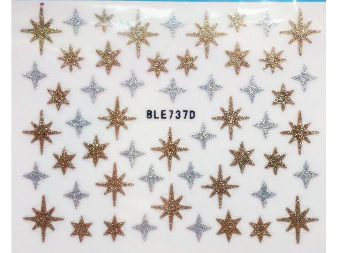 Nálepky na nechty trblietavé hviezdy