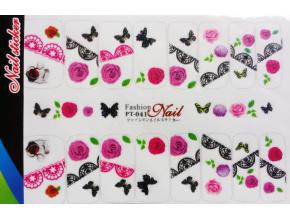 Nálepky na nechty veľké - kvety, motýle, čipka