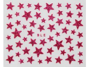 Nálepky na nechty - trblietavé hviezdy tmavoružové