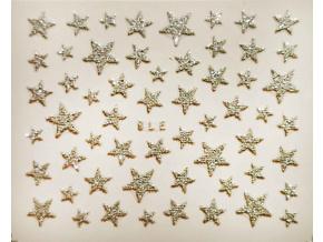 Nálepky na nechty - trblietavé hviezdy strieborné