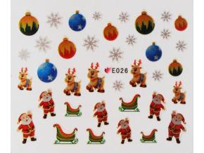 Vianočné nálepky na nechty s kovovým leskom