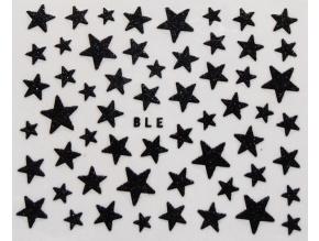 Nálepky na nechty - trblietavé hviezdy čierne