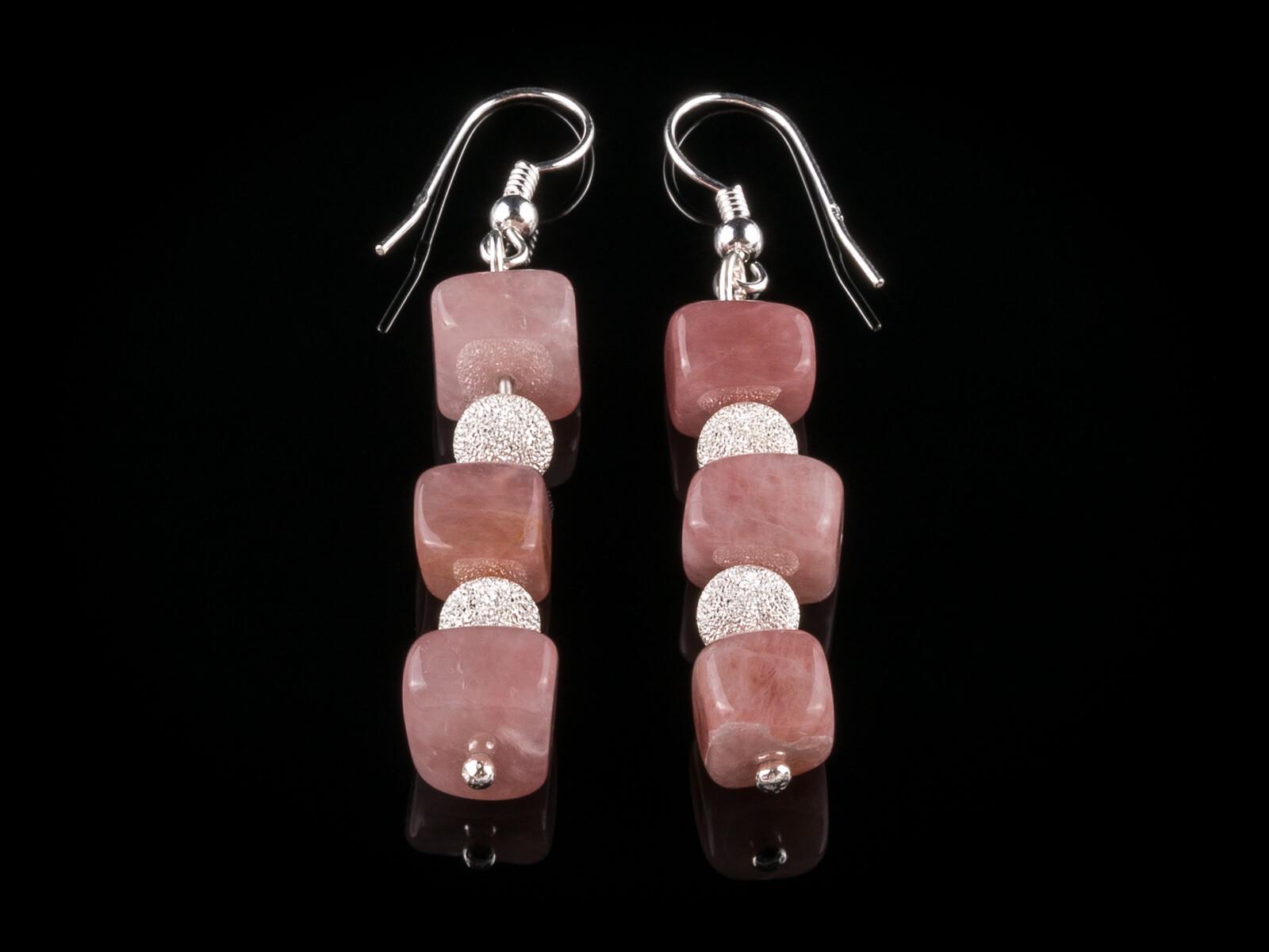 Náušnice z růžového křemene a stříbra