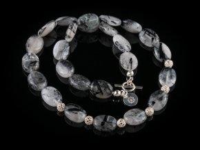 nahrdelnik z kristalu s turmalinem a stribra gemterra
