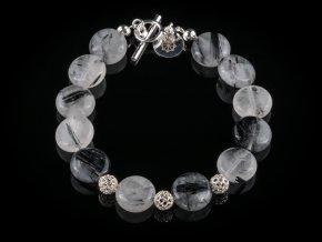 naramek z kristalu s turmalinem a stribra gemterra