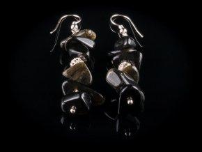 nausnice z cerneho zlatisteho obsidianu a stribra gemterra