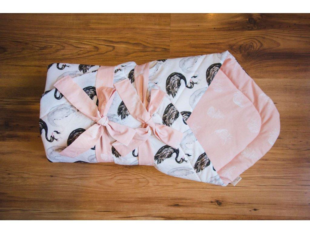 zavinovačka exclusive labutě s růžovými pírky