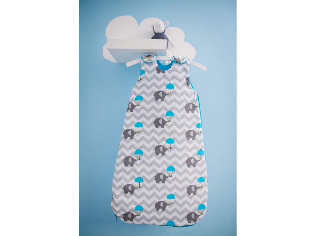 spací vak george & jacob sloni s modrým deštníkem