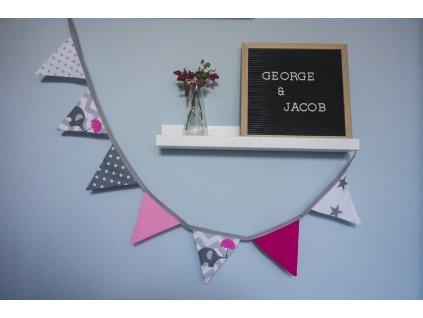 textilní girlanda - růžová