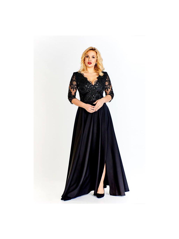 eaf5c678a40 Dlouhé šaty s rozparkem Claudia 38-50 Černé - Get the look Boutique