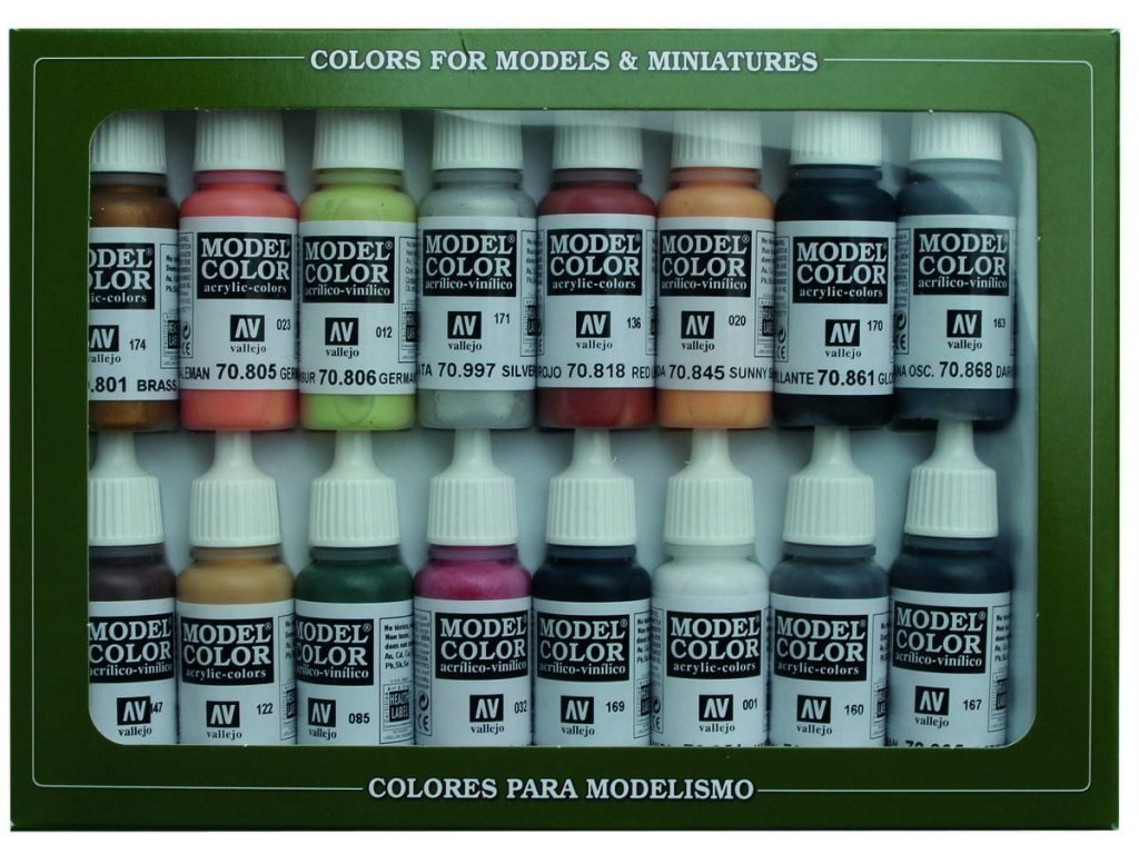 7076 vallejo model color 16 color set 70107 german colors wwii 16