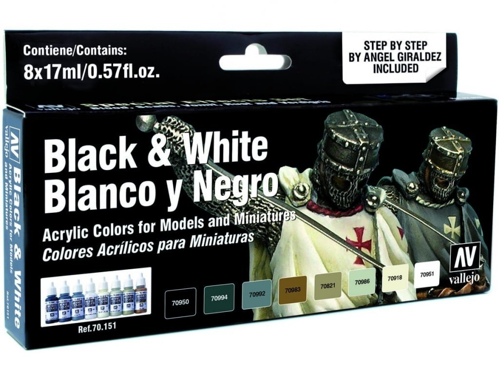 7106 1 vallejo model color effects set 70151 black white 8 by angel giraldez
