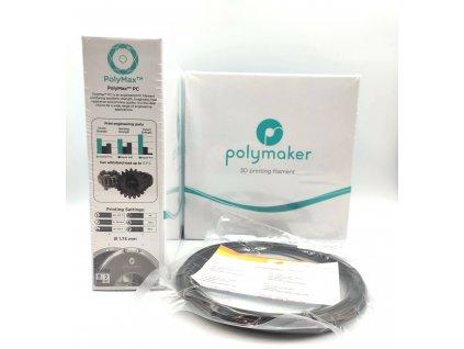 8966 1 vzorek 20 metru pc polymax filament cerny 1 75mm polymaker