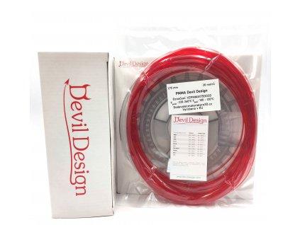 8996 vzorek 20 metru pmma filament cerveny tr 1 75mm devil design
