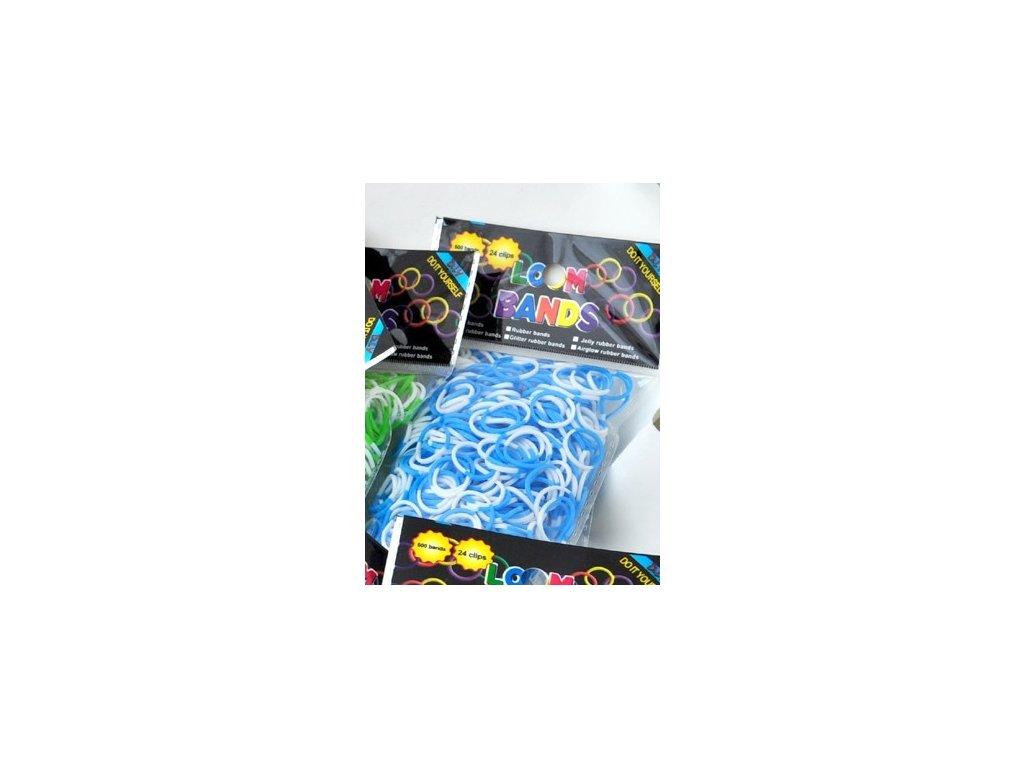 Pletací gumičky Loom Bands 200 kusů + háček modro/bílé