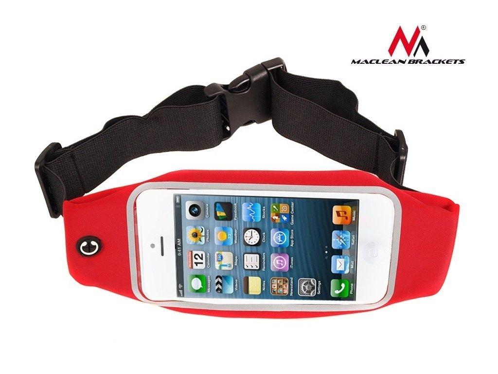 """Maclean Brackets sportovní bederní pouzdro telefon 5,7""""- ledvinka červená"""