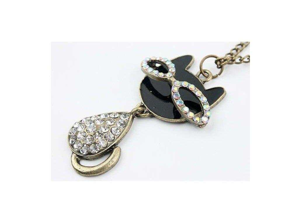 Retro náhrdelník - přívěsek na řetízku kočka 2