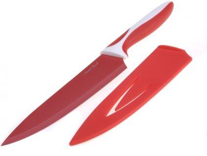Smart Cook Ocelový nůž s keramickým povlakem 33cm, vysoký červený