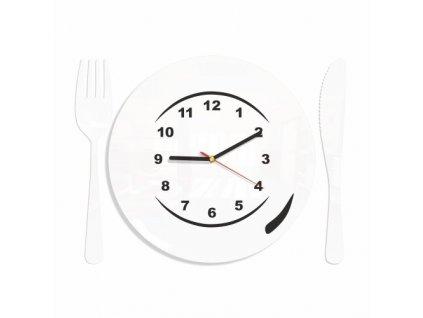 Designové nástěnné hodiny do kuchyně talíř bílé