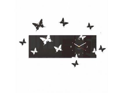 Designové nástěnné hodiny motýlci horizontální