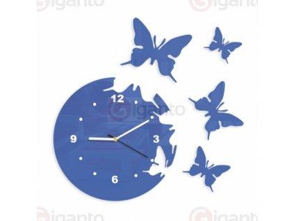 Designové nástěnné hodiny motýli modré