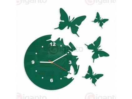 Designové nástěnné hodiny motýli tmavě zelené