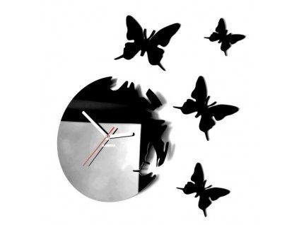Designové nástěnné hodiny motýli černé light