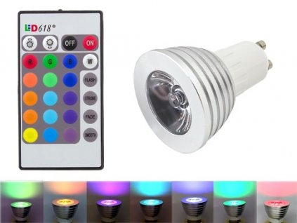 GNT Žárovka GU10 LED 3W RGB s dálkovým ovladačem
