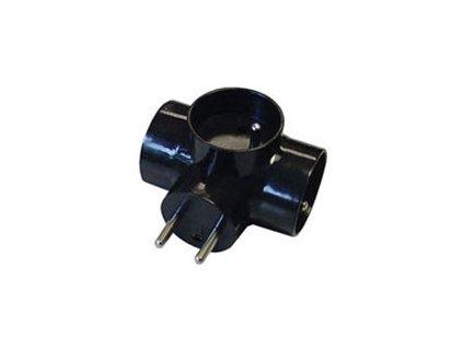 Rozbočovací zásuvka 3 x kulatá - černá 250 V/10 A max.