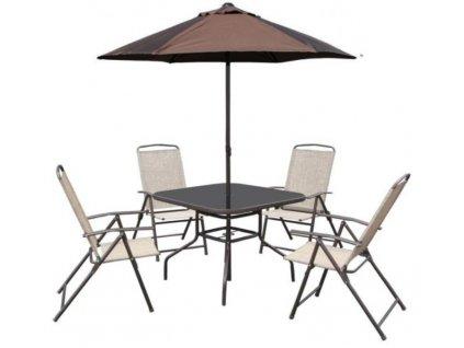 Zahradní nábytek -  4x křeslo, slunečník II. jakost