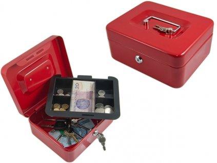 Pokladna, kasa příruční 200x160x90mm červená