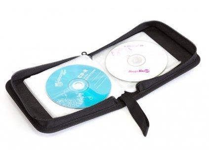 Obal pouzdro na média 24 CD/DVD, zapínací černé ekokůže