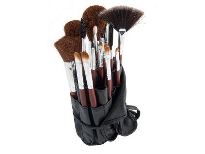 GNT Kosmetické štětce na make up sada 16ks s pouzdrem hnědé