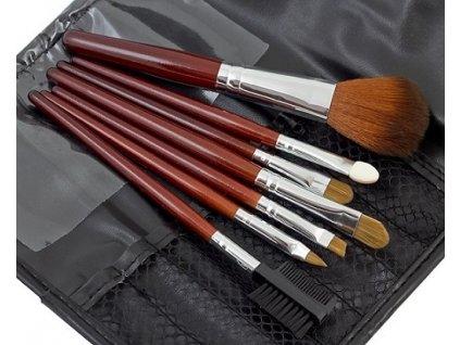 GNT Kosmetické štětce na make up sada 7ks s pouzdrem hnědé