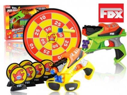 FOX pistole DUO set, brýle, terč, plechovky