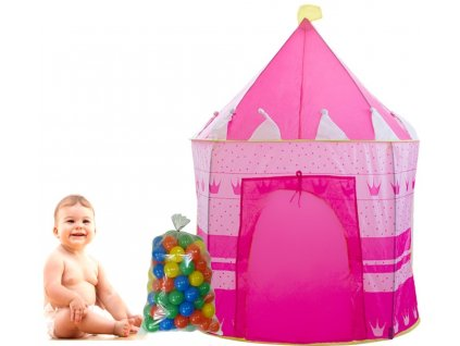 GNT Dětský stan růžový s míčky