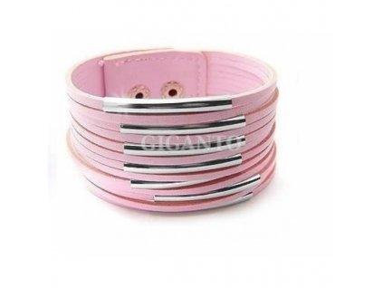 Kožený náramek - růžový, Japan Style