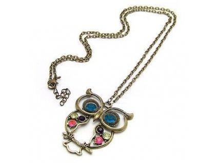 Retro náhrdelník - přívěsek na řetízku sova