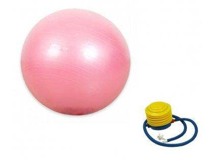 Fitness gymnastický míč 650 mm + pumpa, růžový