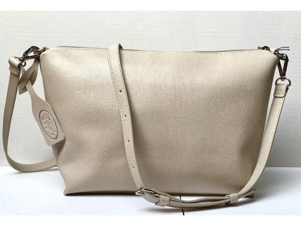 Béžová kožená kabelka crossbody