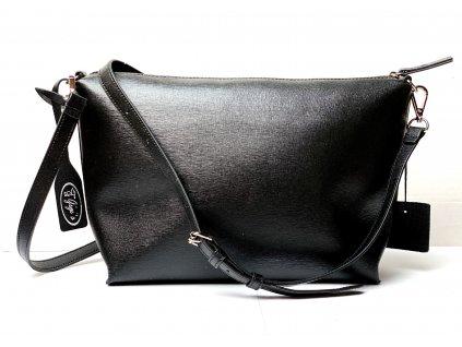 Černá kožená kabelka crossbody