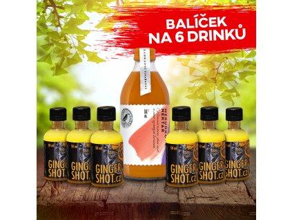1x nektar 300ml + 6x ginger shot 50ml