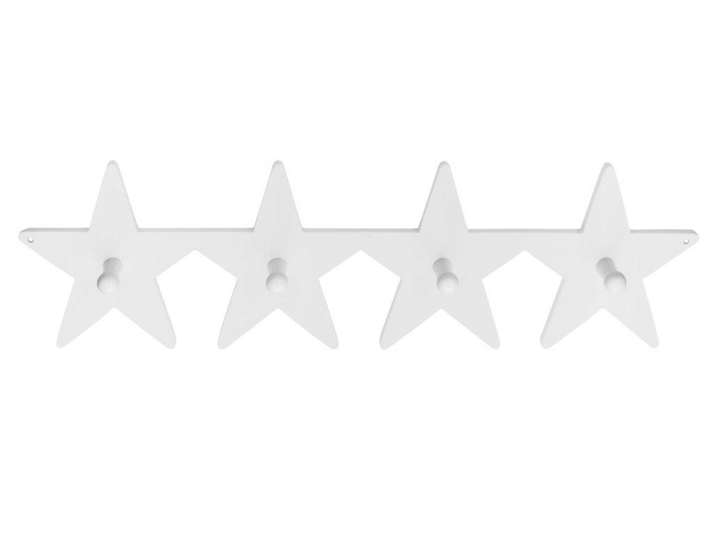 věšák velký hvězdičky bílý