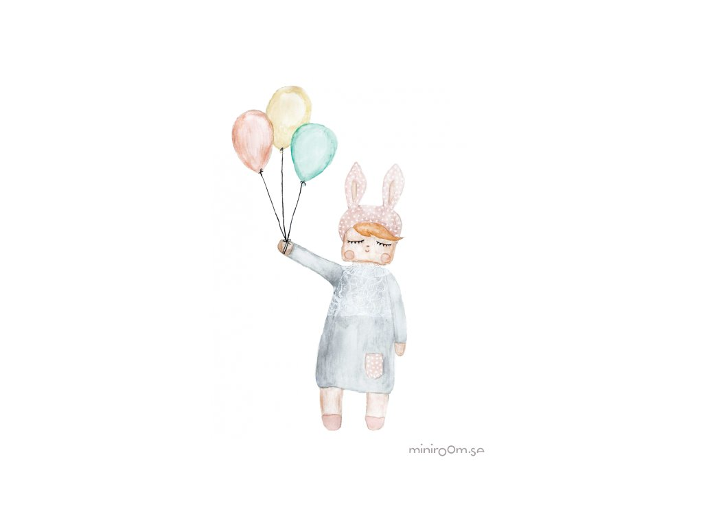 plakát A3 králičí panenka s balónky