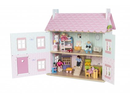 H104 Sophie House Open. with ME040 Starter Furniture Set and Dolls