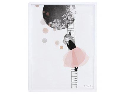 affiche cadre lune rose noir fille chambre bebe enfant lilipinso P0134C IMG02