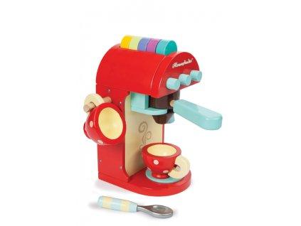 vaření - kávovar s hrníčky dřevěný